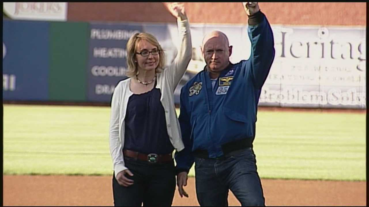 Former U.S. Rep. Gabrielle Giffords made a stop in Manchester Thursday at the Fisher Cats game against the Binghamton Mets.