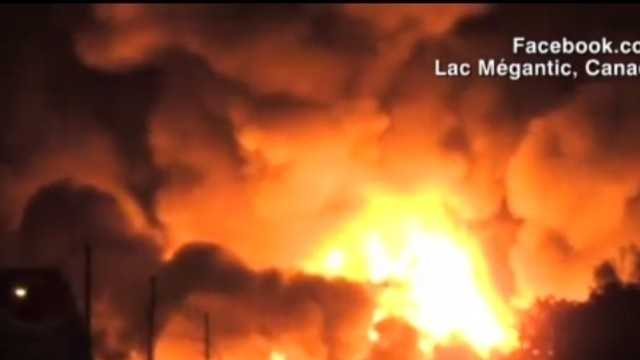 Train carrying crude oil derails in Quebec, explodes
