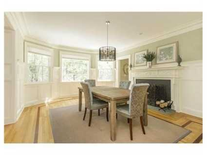 The home has a gorgeous dining room.