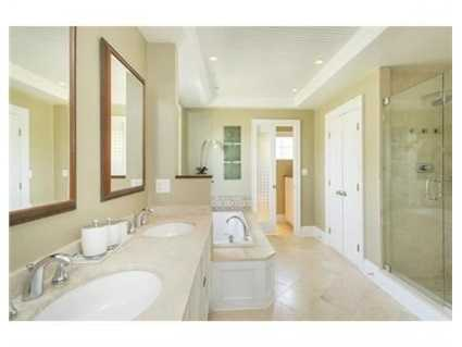 A view of the master bathroom.