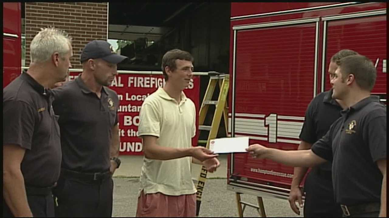 A teenager from Hampton burned in a fire two months ago received a big gift from the firefighters who helped him that day.
