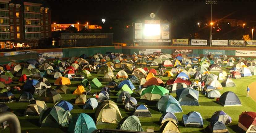 """Twice a year the team hosts """"Scouts Nights"""" where local troops get to camp out on the field."""