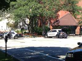 A man shot and killed his son before turning the gun on himself at the YWCA in Manchester on Sunday morning, police said.