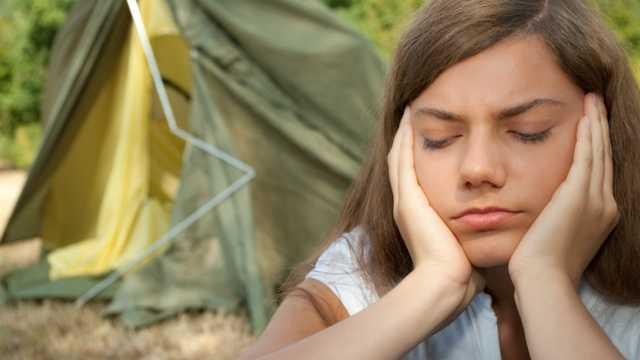 Camping upset sad