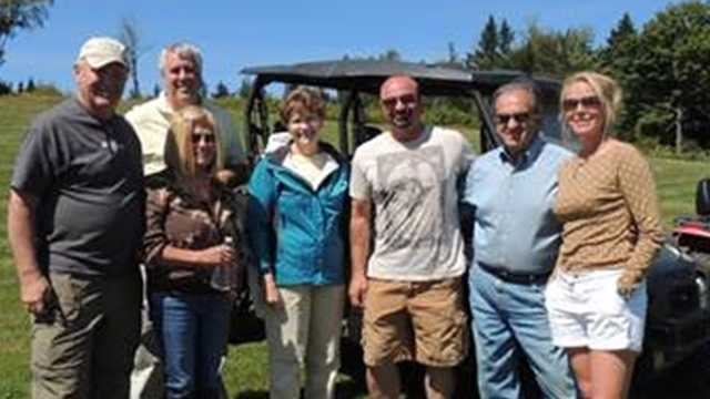 Left to right: Harry Brown, Executive Director of the North Country OHRV Coalition, State Senator Jeff Woodburn (rear), Sue Brown, Senator Jeanne Shaheen, Steve Baillargeon of Bear Rock Adventures, Bill Shaheen, Corrine Rober of Bear Rock Adventures