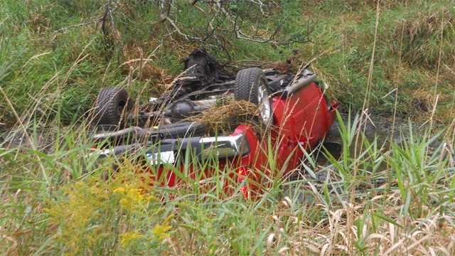 A car crashed into a swamp in Amherst Thursday afternoon.