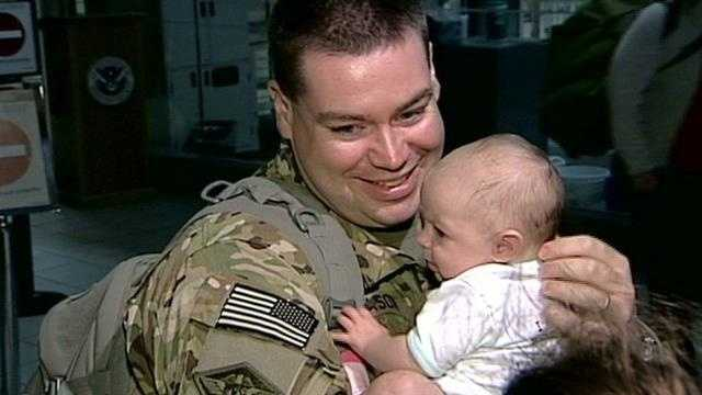 Members of the New Hampshire Army National Guard returned home Friday night.