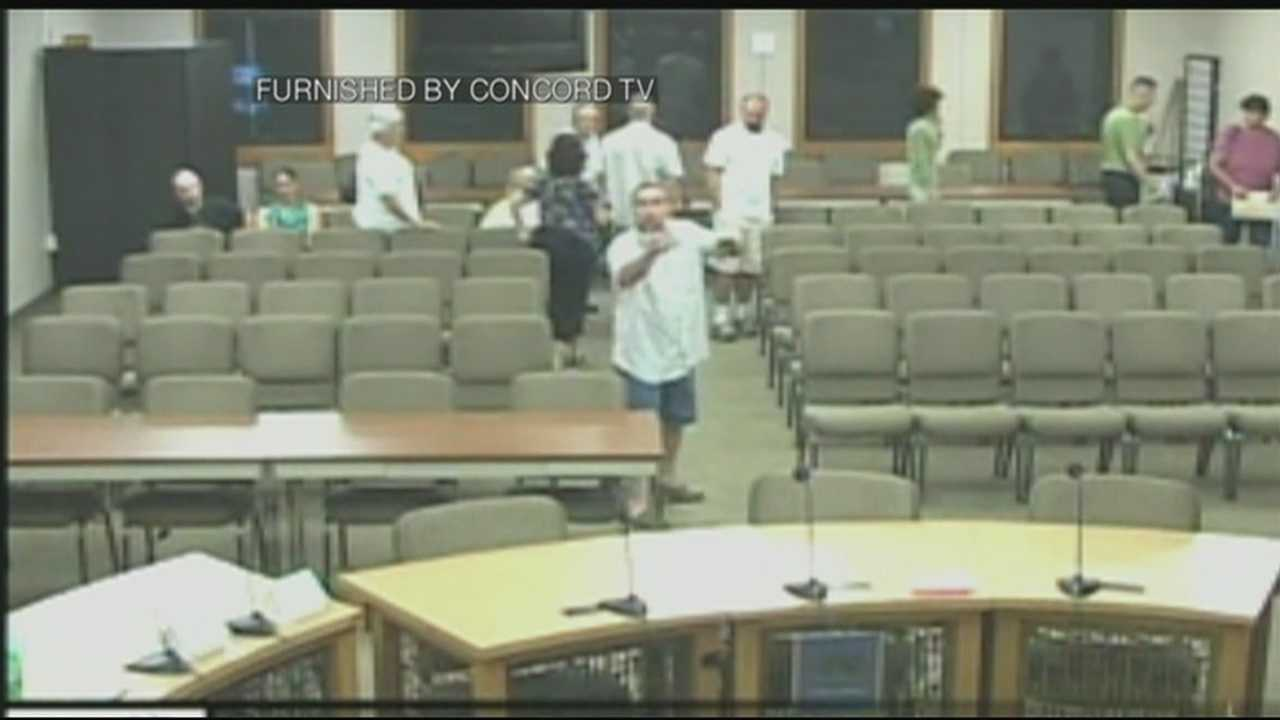 Police were called to Wednesday's meeting of the Concord zoning board following a resident's outburst over pigs.