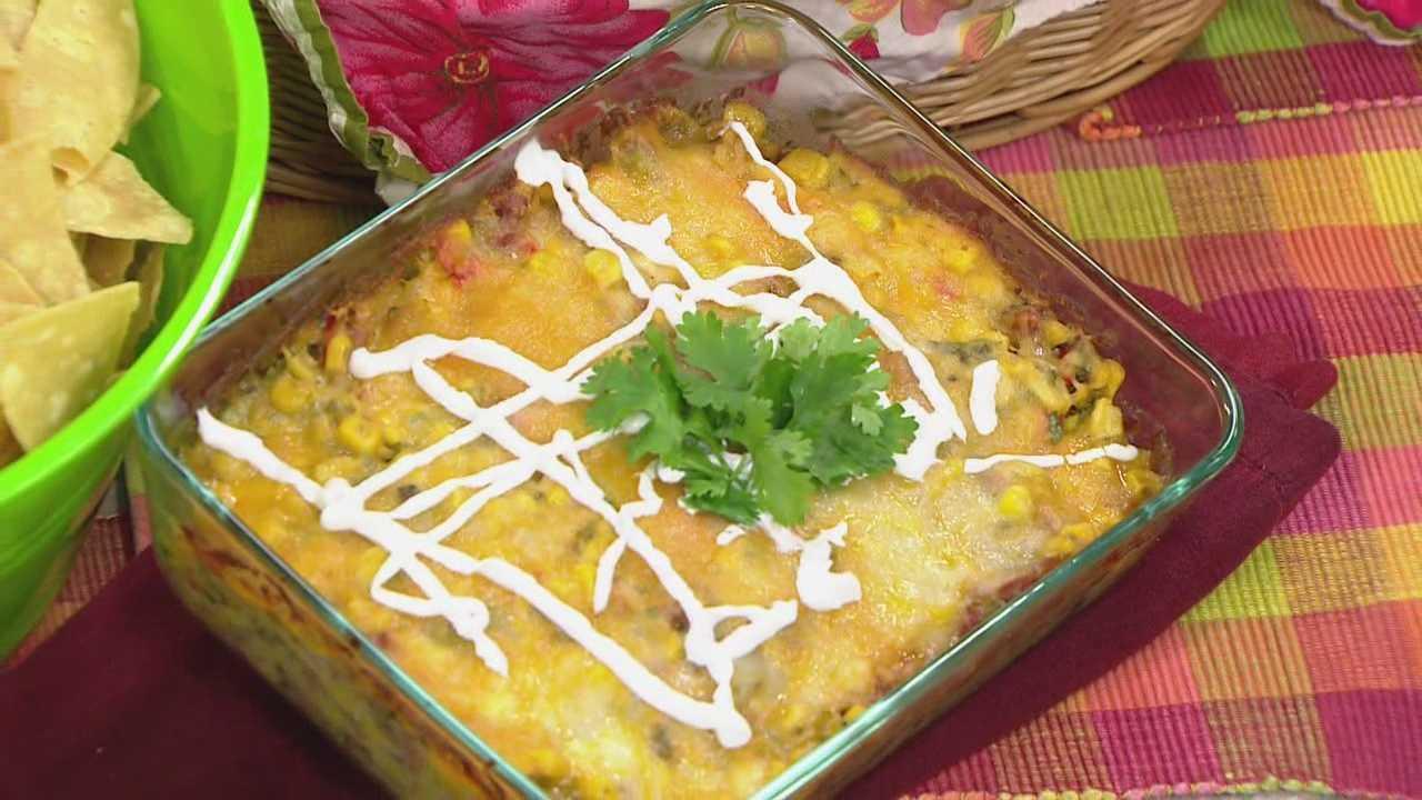 Hot corn and chorizo dip