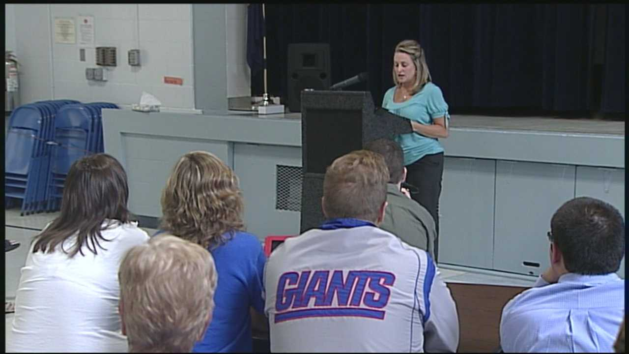 A Boston Bombing victim spoke to Granite State teachers Monday, sharing her incredible story of survival.