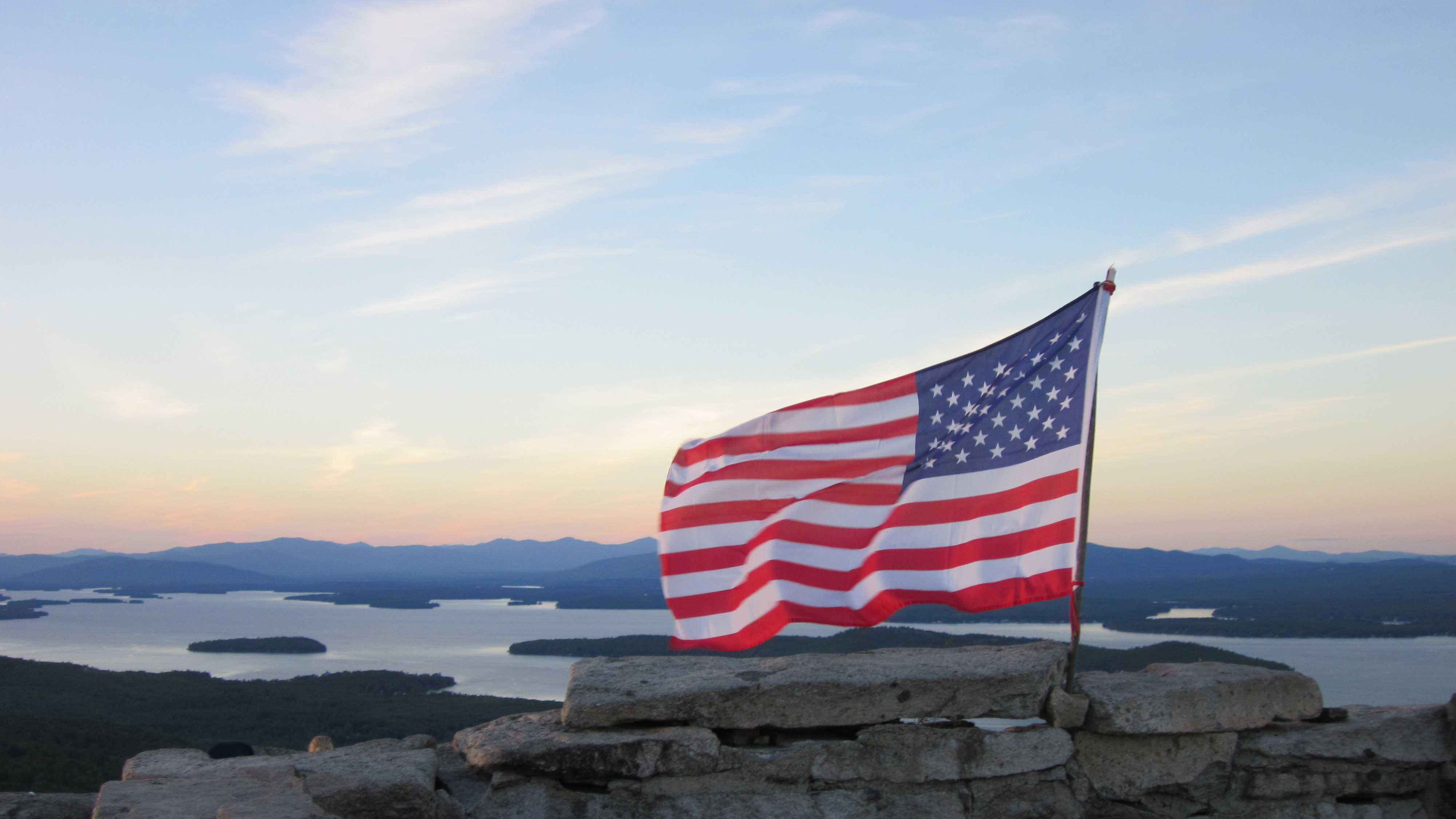 American flag atop Mt. Major