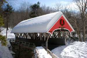Flume Bridge in Lincoln, N.H.Constructed in 1871. There is some debate over whether the bridge was originally built in this location, or if it was built and used elsewhere and later moved to this spot.