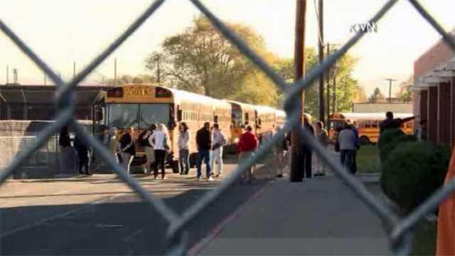 School buses outside of school shooting
