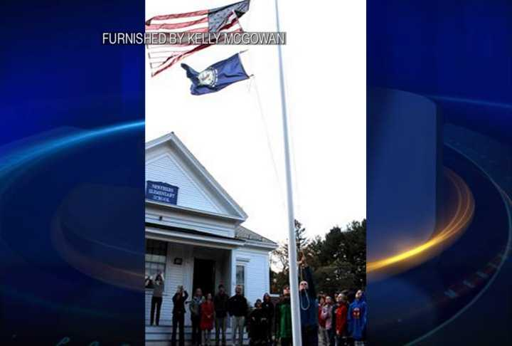 A flag that once flew over the U.S. Capitol is now flying at Newfields Elementary School.