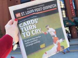 The back page of the St. Louis Post Dispatch after Sunday's win for the Red Sox.