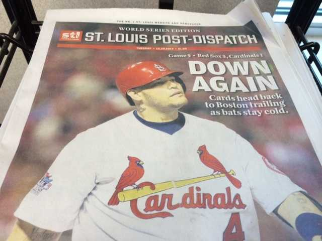 The back page of the St. Louis Post Dispatch Tuesday morning...