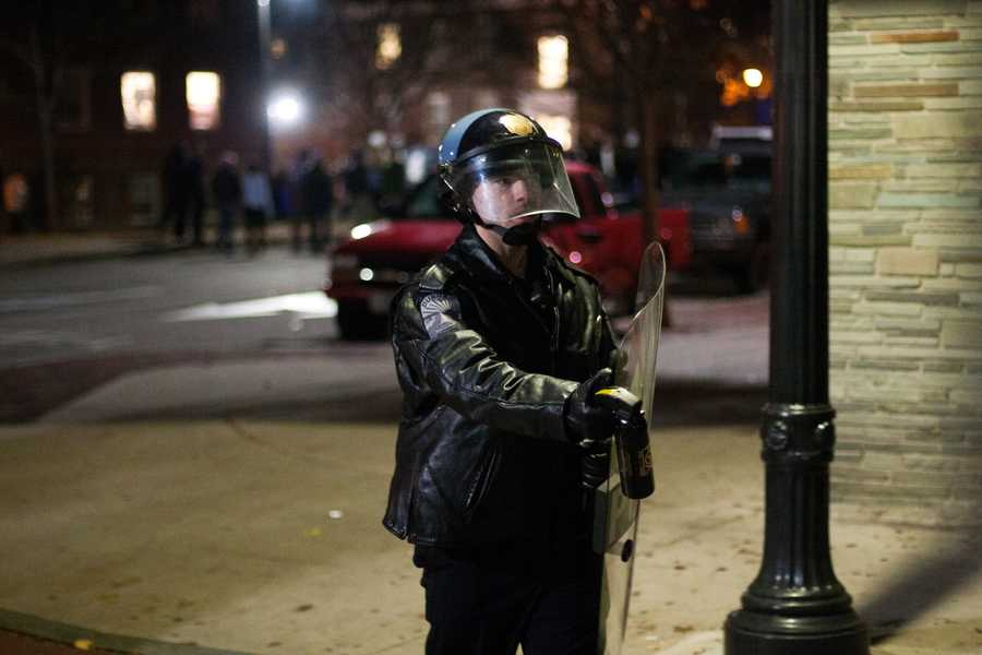 One officer could be seen with a bottle of pepper spray near Main Street in Durham.