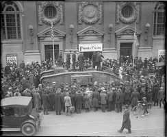 British tank Britannia at food fair in Boston in 1918