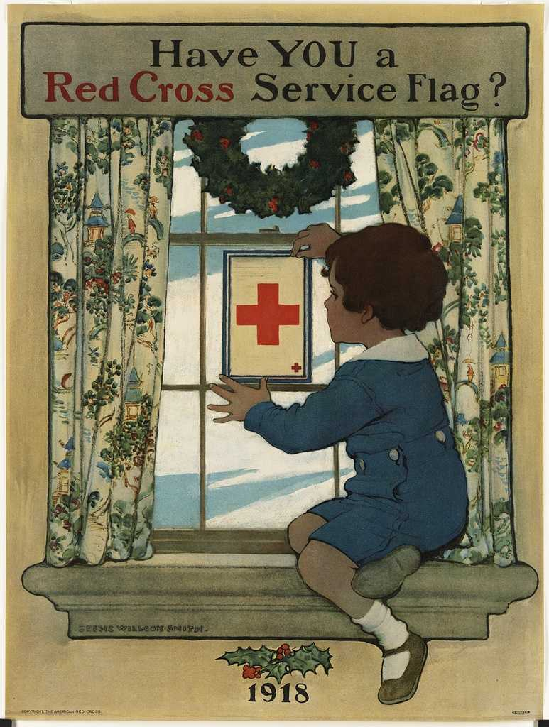 Only members of the Red Cross could display flags, and additional smaller crosses, like the flag shown here, were added for other dues-paying household members