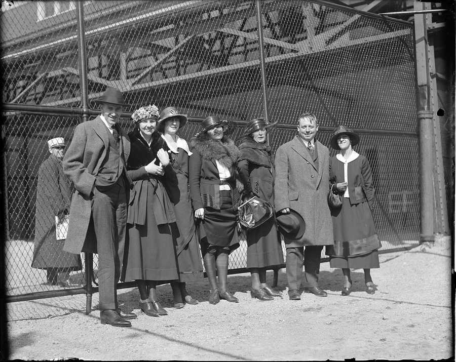 Group going to the ball game at Fenway Park in 1918