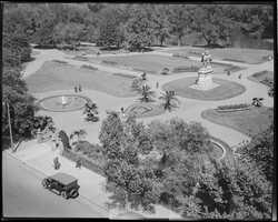 Birdseye view of Public Garden from Arlington Street in 1918