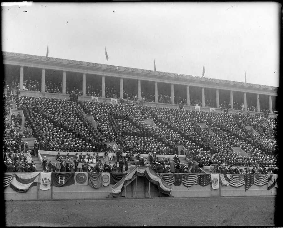 """Boys from naval radio school spell """"Navy"""" at Harvard vs. Navy game at Harvard Stadium."""