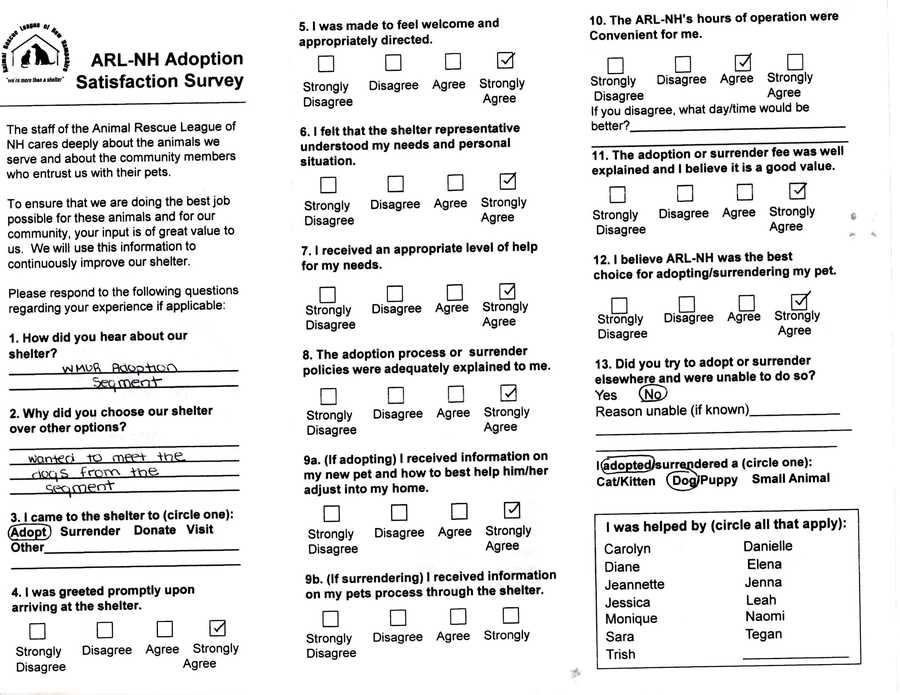 This satisfaction survey was filled out by a visitor of the Animal Rescue League of NH.