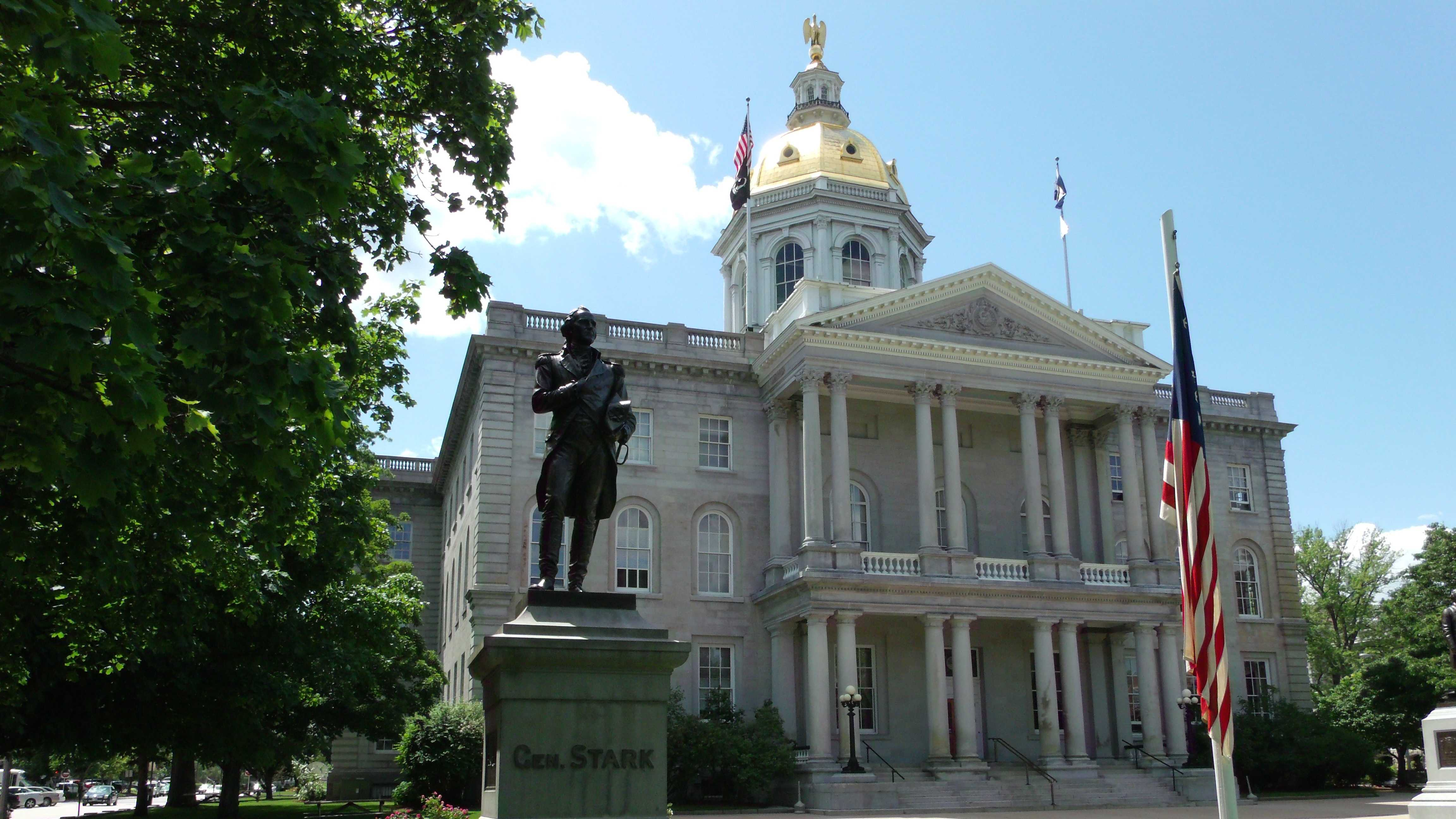 "Concord, ""The capital of New Hampshire (17,005 inhab) is a pleasant tree-shaded city on the west bank of the Merrimac, with carriage-works and quarries of fine granite. Among the chief buildings are the State Capitol, the State Library, the City Hall and the Insane Asylum."""