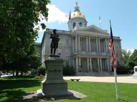 """Concord, """"The capital of New Hampshire (17,005 inhab) is a pleasant tree-shaded city on the west bank of the Merrimac, with carriage-works and quarries of fine granite. Among the chief buildings are the State Capitol, the State Library, the City Hall and the Insane Asylum."""""""