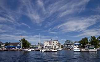 """Wolfeboro, """"The largest village on the lake.The favorite excursion is to Copple Crown Mountain. The view includes Mt. Washington in the distance on a clear day."""""""