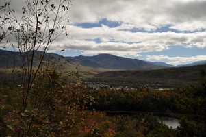 """Gorham, """"The north gateway to the White Mountains is a village with about 2000 inhab commands a charming view of hill and valley."""""""