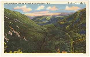 """Mt. Willard, """"Easily ascended by a carriage road… commands a splendid view of the Notch (afternoon light best)."""""""