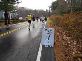 Mile 3: Only 10 more miles to go. Once runners hit the 5K mark, they can start to calculate what kind of time they might turn in.