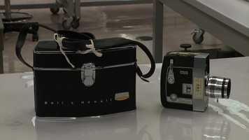Abraham Zapruder's movie camera and camera case.