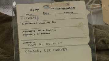 A Parkland Hospital body identification tag that was not completely filled out.