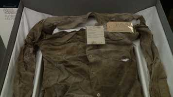 The bullet hole is also clearly visible in the shirt Oswald was wearing when he was shot.