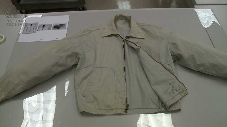 The gray zipper jacket Oswald was wearing when arrested by Dallas Police.