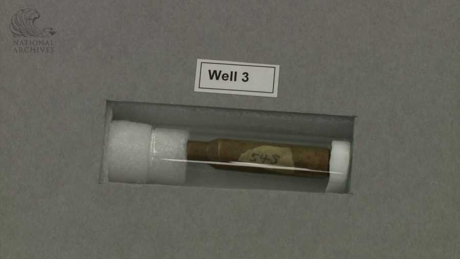 6.5 mm cartridge case found on the sixth floor of the Texas School Book Repository.