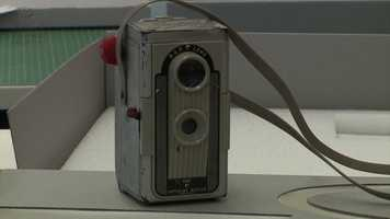 """Oswald's still camera used to take the famous """"backyard photograph."""""""