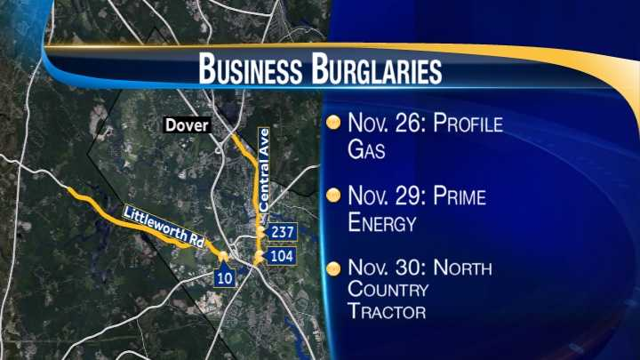 map-Dover business burglaries