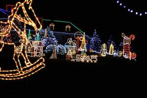 Chesterfield: 140 Pond Road. More than 2-million lights are used for this display that raises money for Joan's Food Pantry. Donations are accepted at the gate.