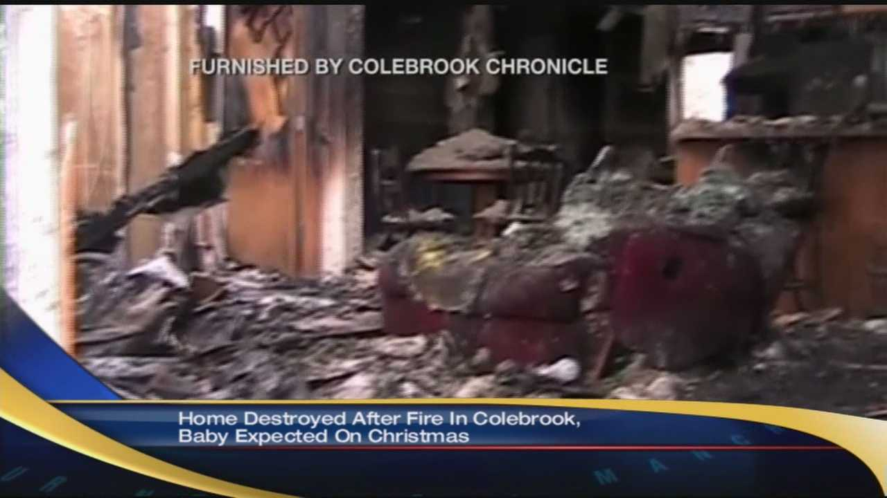 A family's home was destroyed in Colebrook Sunday.