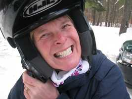 The snowmobile helmet can be a tight fit!