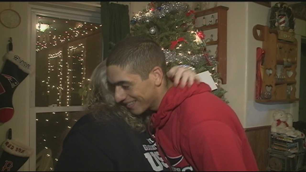 A Newport mother got her favorite Christmas present on Christmas Eve, when her son, a Marine stationed in California, showed up unexpectedly.