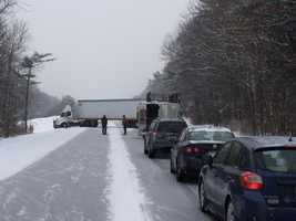 Here's a look at the jack-knifed tractor trailer that led to a temporary shutdown of I-89.