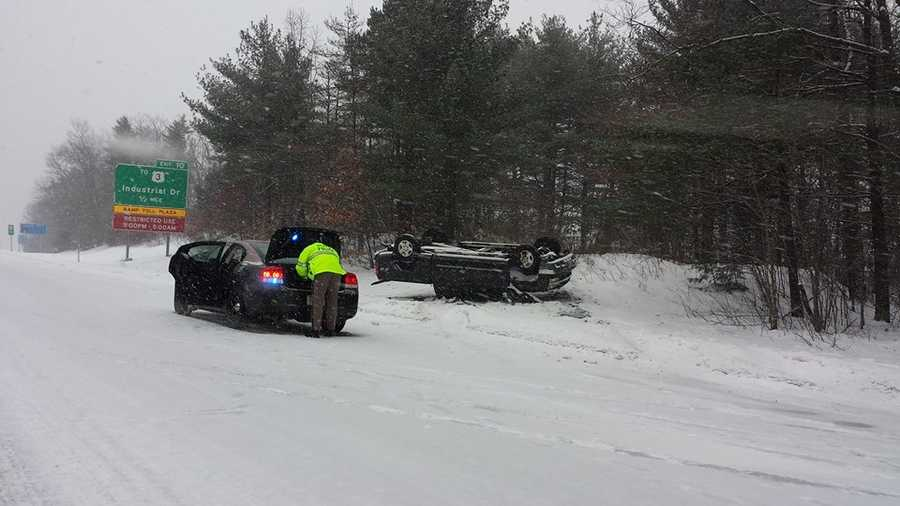 Light snow snarled traffic on roads across New Hampshire. Here's a crash on the Everett Turnpike northbound in Merrimack.