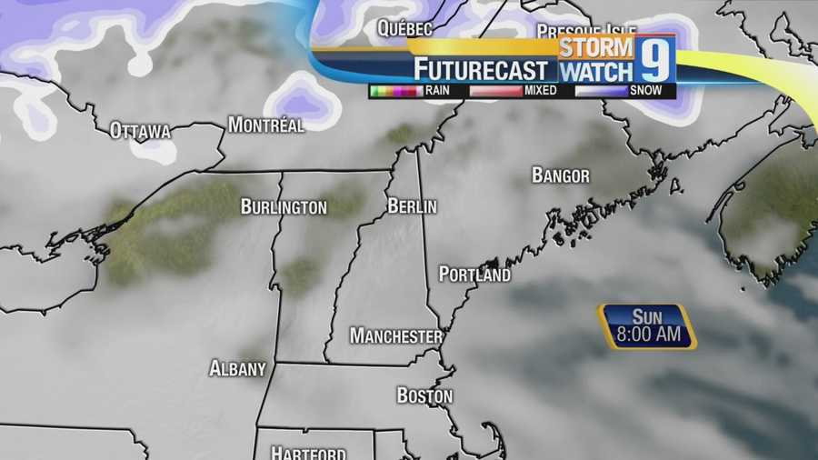 A storm moving in Sunday may bring rain and snow.