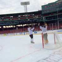 WMUR's Jamie Staton and Kevin Gray were on the ice at Fenway Park on Friday, playing in the Hockey East Media Game for Frozen Fenway.
