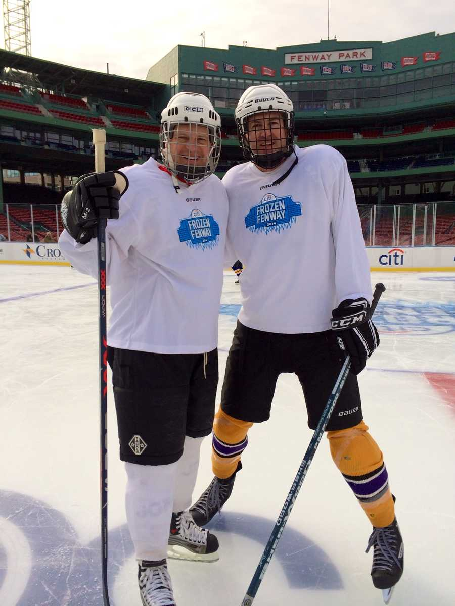 In the media game, Kevin and Jamie's Team White came from behind to win 6-4.