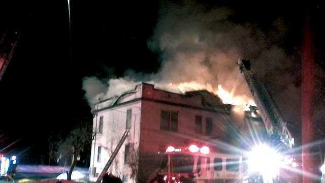 Firefighters battle blaze in Laconia